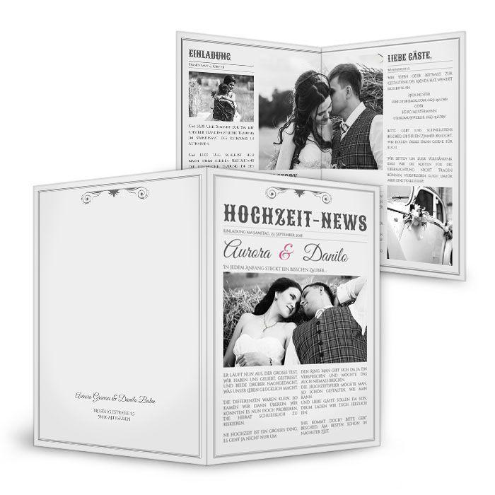 Hochzeitseinladungen im Stil einer Zeitung online gestalten