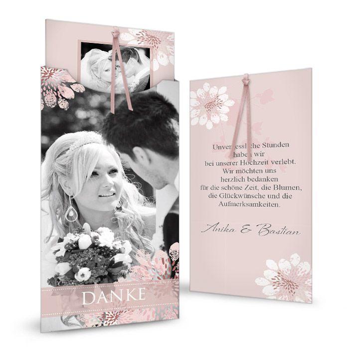 Hochzeitsdanksagung mit floralem Muster und großen Fotos