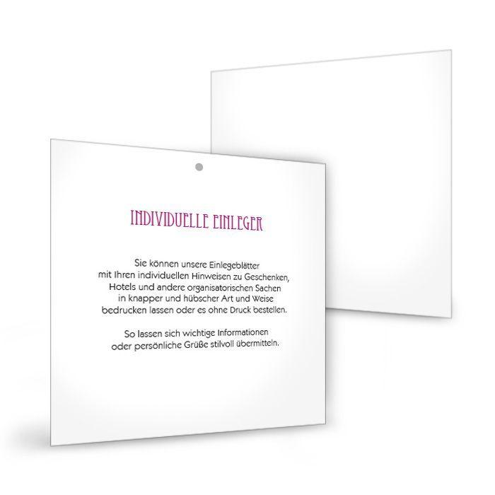 Zusätzlicher Einleger für quadratische Einsteckkarten