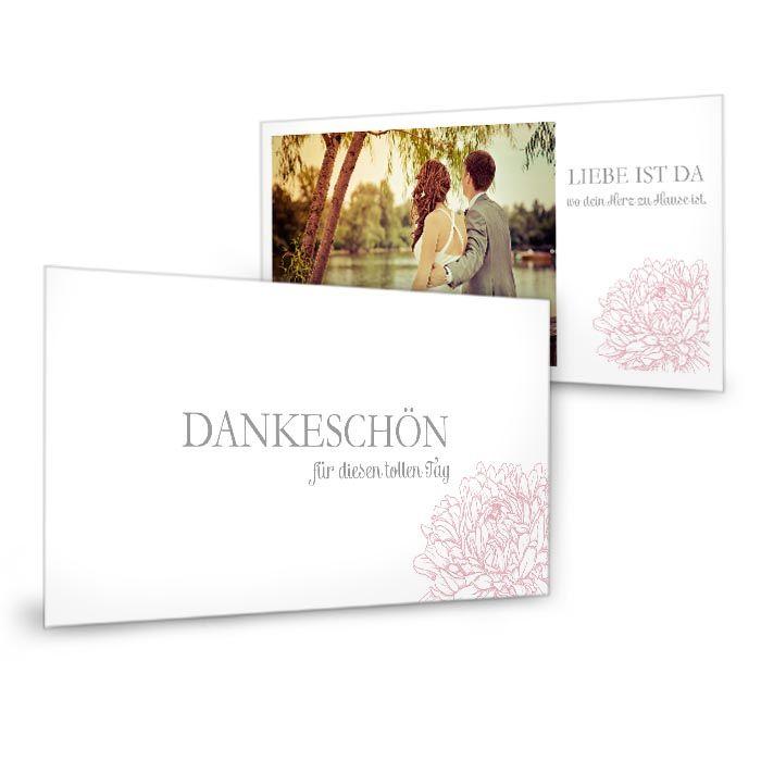 Danksagung zur Hochzeit mit Pfingstrose in Rosa als Postkarte