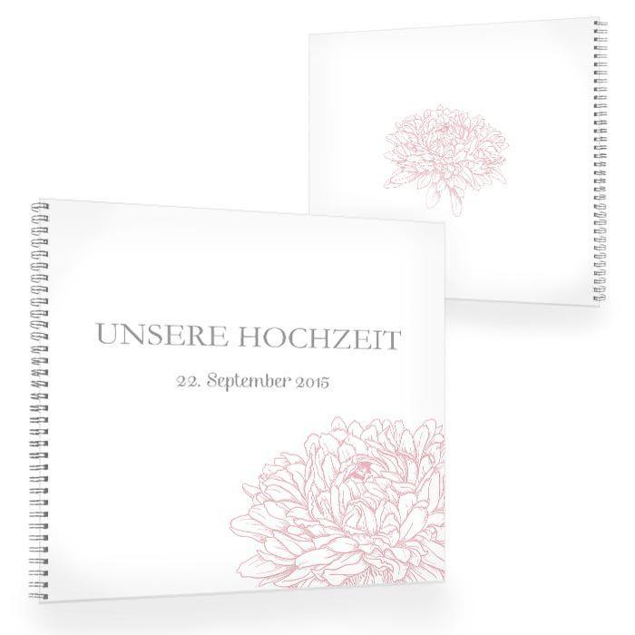 Florales Gästebuch zur Hochzeit mit Pfingstrose in Rosa