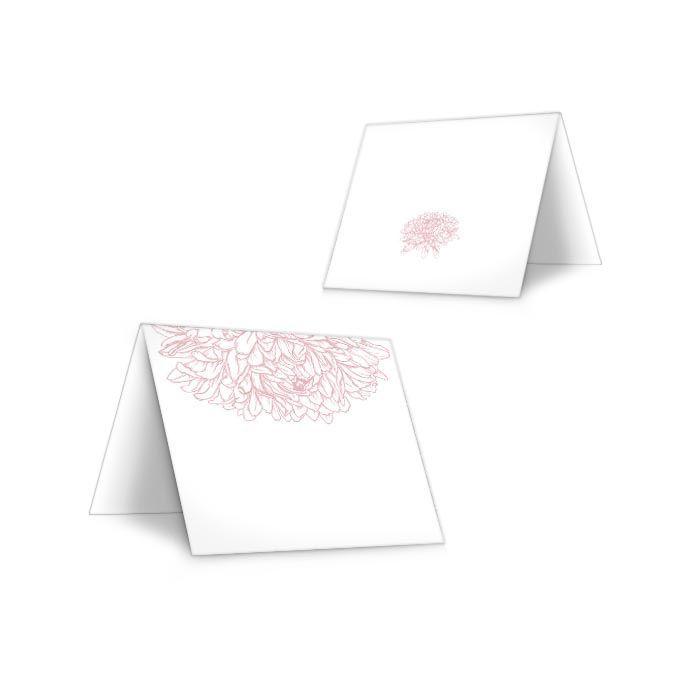 Florale Tischkarte zur Hochzeit mit Pfingstrose in Rosa