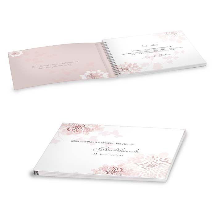 Verspieltes Gästebuch zur Hochzeit in Altrosa mit Softcover