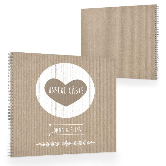 Gästebuch zur Vintage Hochzeit im Packpapierstil in Braun