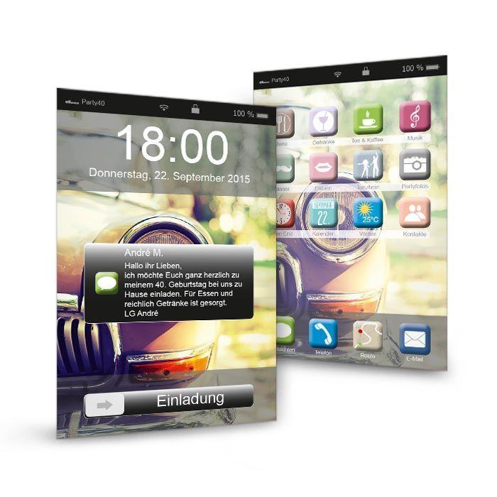 Geburtstagseinladung im modernen Smartphone-Design