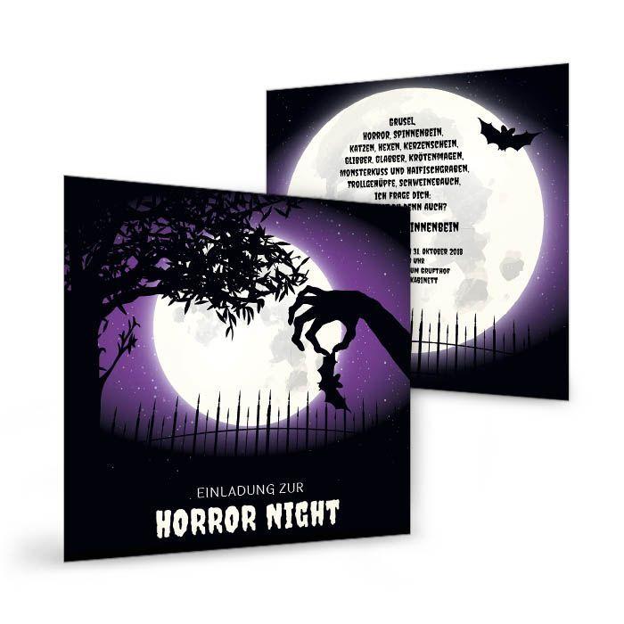 Guselige Einladungskarte für Halloween mit Vollmond in Lila