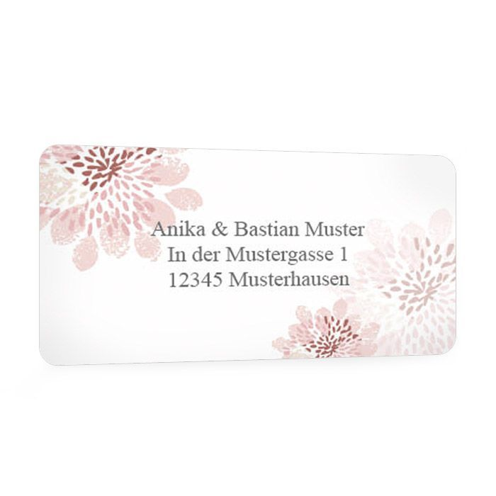 Absenderaufkleber zur Hochzeit mit floralem Design in Rosa