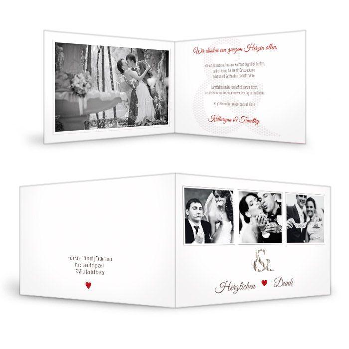 Danksagung zur Hochzeit mit &-Zeichen und rotem Herz