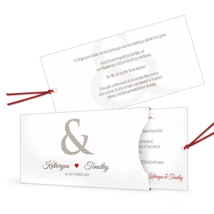 Hochzeitseinladung mit &-Zeichen und Herz als Einsteckkarte