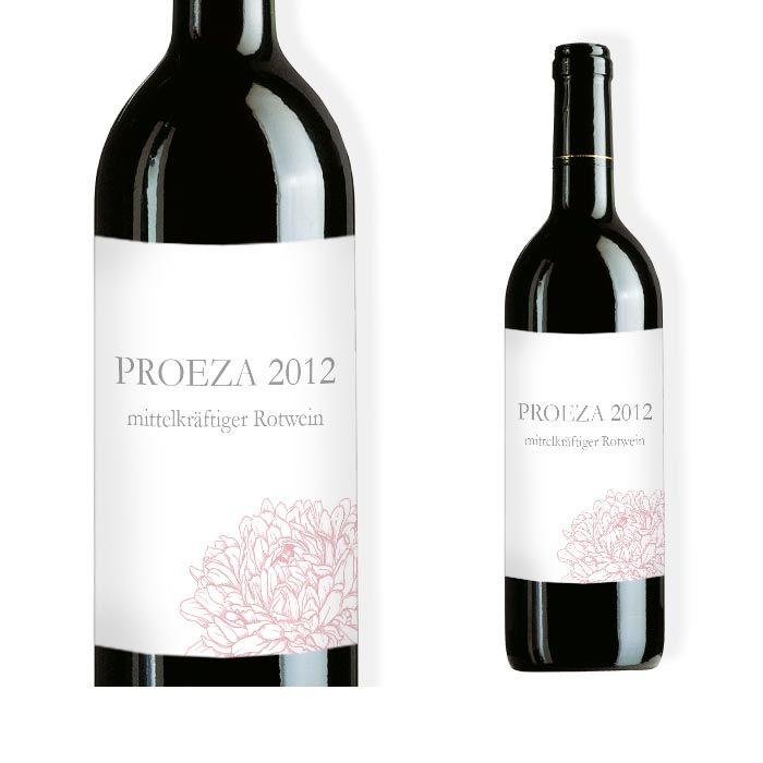 Weinflaschenetikett mit Pfingstrosen Design in Rosa