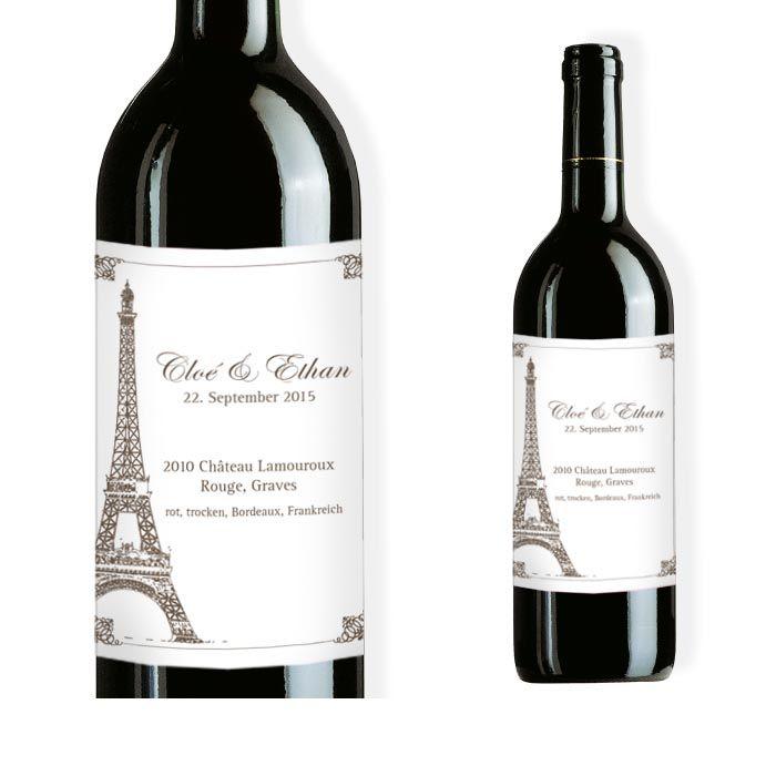 Weinflaschenetikett mit Eiffelturm Motiv in Weiß