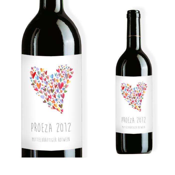 Weinflaschenetikett zur Hochzeit mit bunten Aquarell Herzen