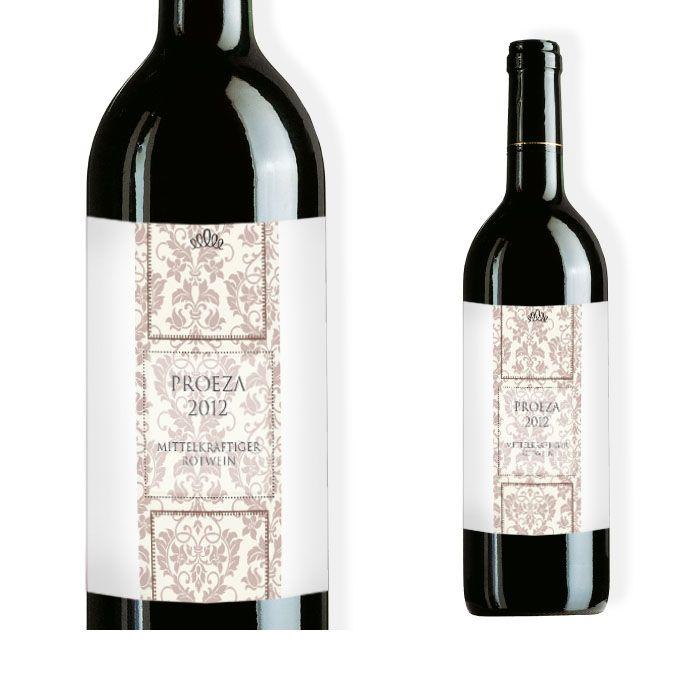 Weinflaschenetikett zur edlen Hochzeit mit barockem Design