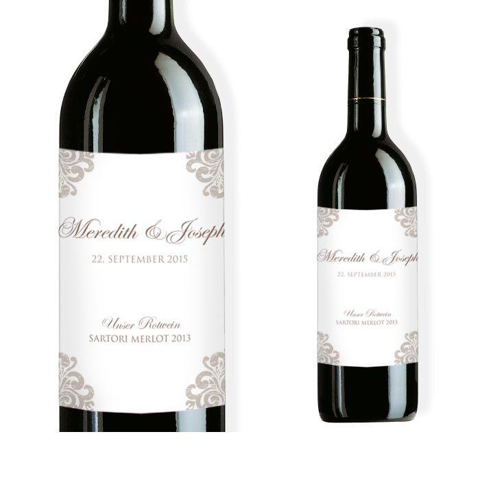 Elegantes Weinflaschenetikett zur Hochzeit in Weiß-Taupe