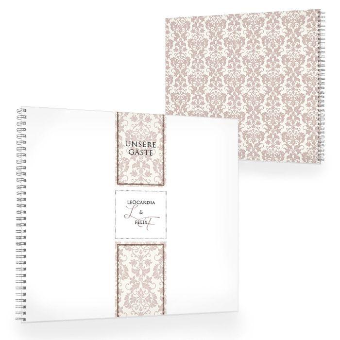 Edles Gästebuch zu Hochzeit mit barockem Design in Braun