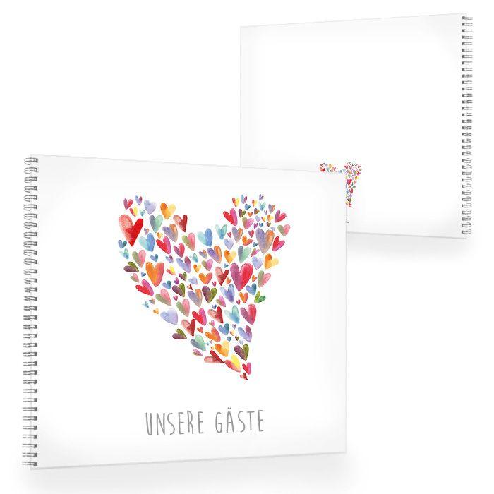 Gästebuch zur Hochzeit mit vielen bunten Aquarell Herzen
