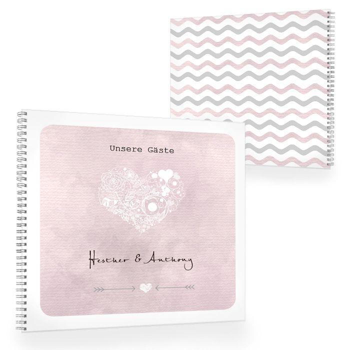 Gästebuch zur Hochzeit mit Wasserfarbedesign und Herz in Rosa
