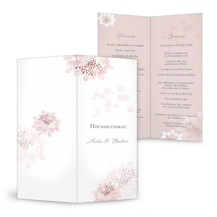 Romantische Menükarte zur Hochzeit mit rosa Blüten