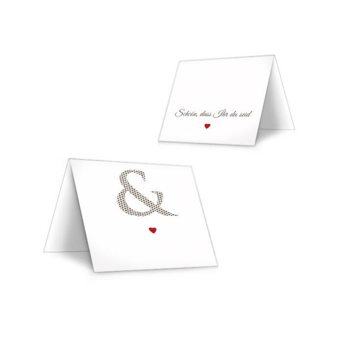 Tischkarten zur Hochzeit mit &-Zeichen und Herz in Rot