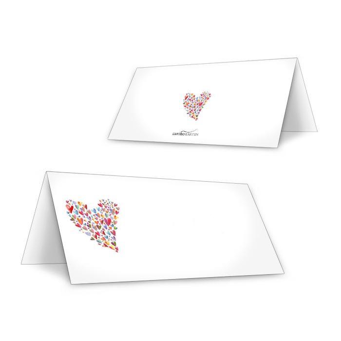Tischkarte zur Hochzeit mit buntem Herz zum Beschriften