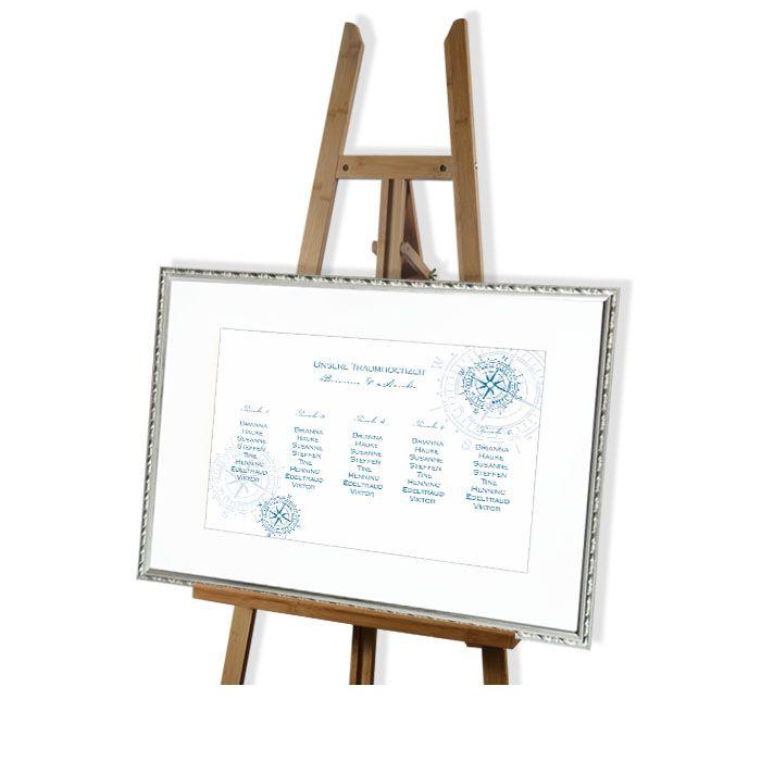 Großer Tischplan zur maritimen Hochzeit mit Kompass in Blau