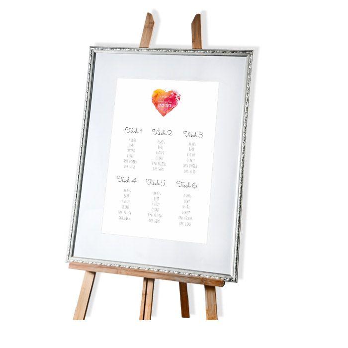 Großer Tischplan zur Hochzeit mit Watercolor Herz in Rot