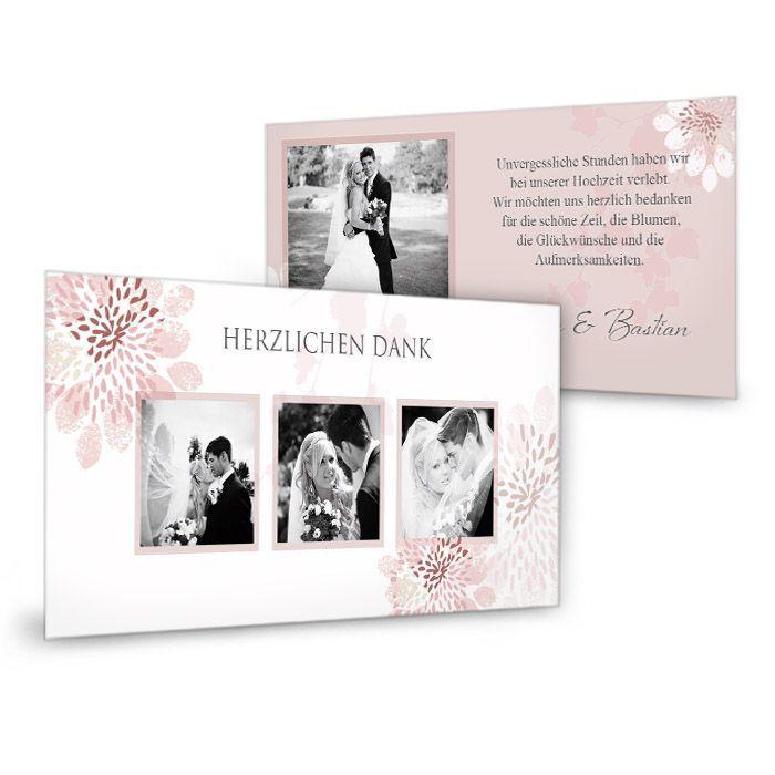 Romantische Danksagung zur Hochzeit in Altrosa mit Blüten