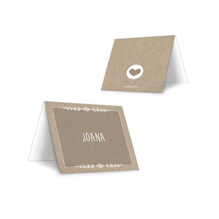 Vintage Tischkarte zur Hochzeit in braunem Packpapierdesign