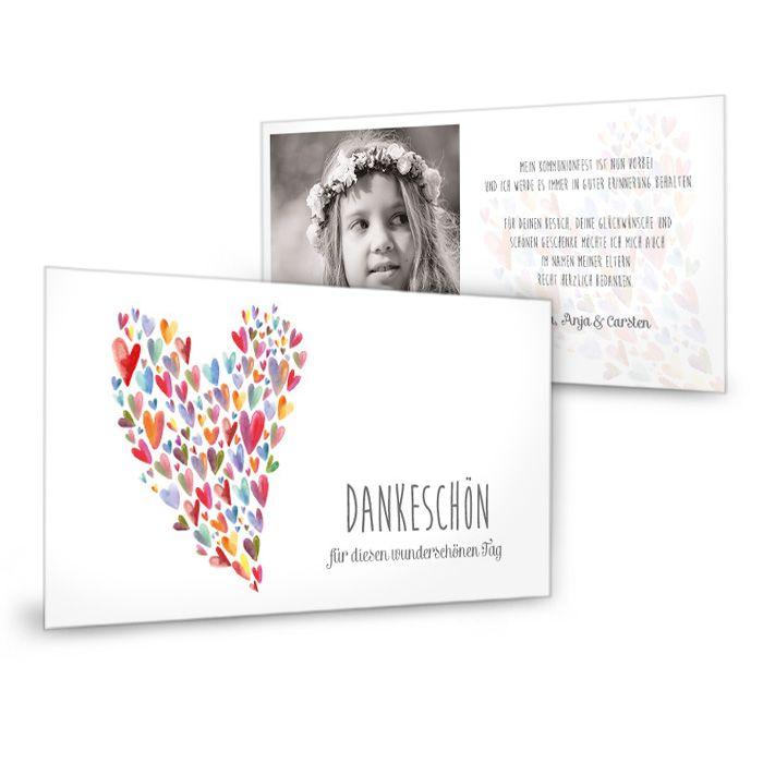 Danksagungskarte zur Kommunion mit buntem Watercolor Herz