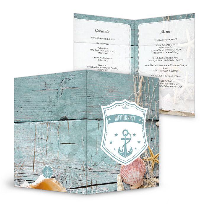 Maritime Menükarte zum Geburtstag mit Anker-Motiv