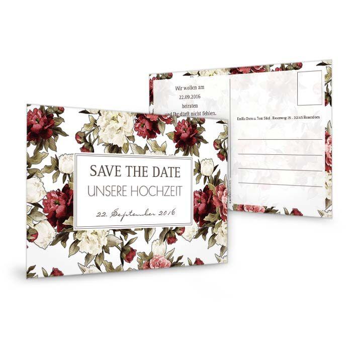 Save the Date Karte zur Hochzeit mit roten Pfingstrosen