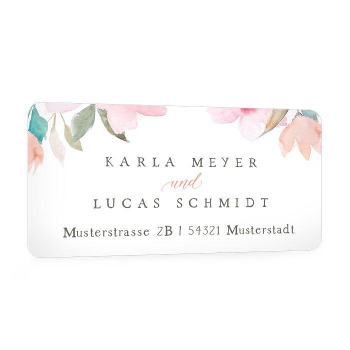 Absenderaufkleber mit pastellfarbenen Blüten für die Hochzeitspost