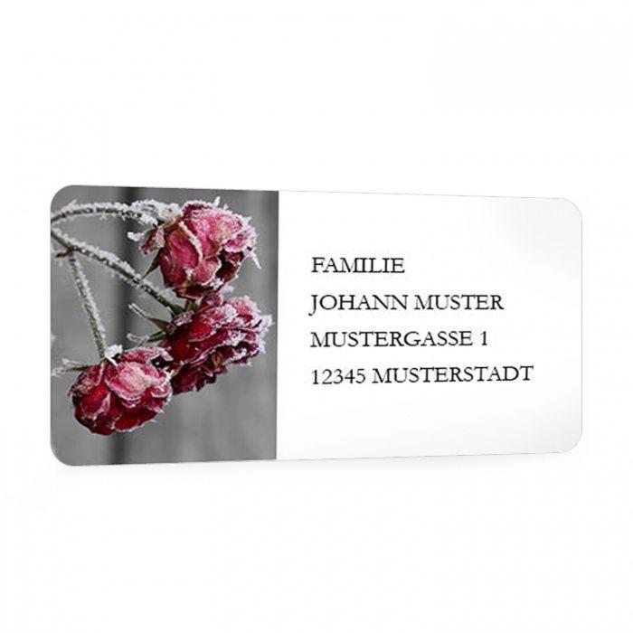 Adressaufkleber für die Trauerpost - Rosen mit Frost bedeckt