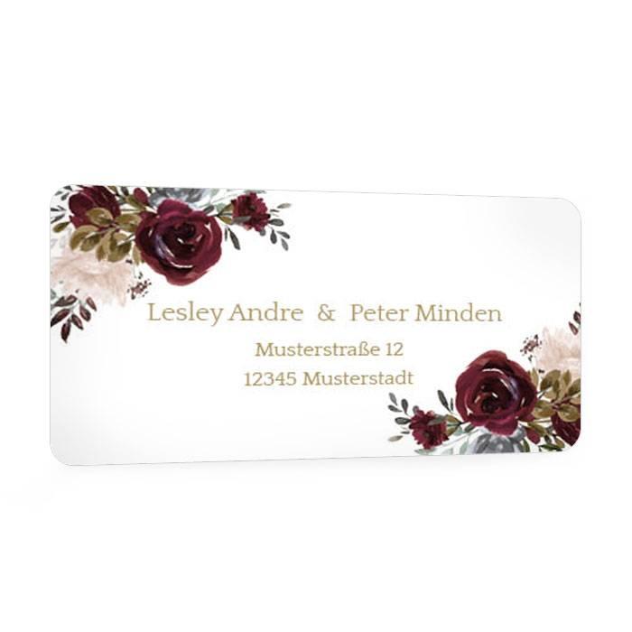 Adressaufkleber für Ihre Hochzeitspost mit roten Rosen