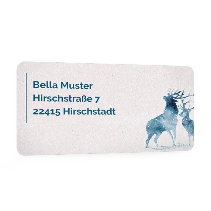 Weihnachtliche Adressaufkleber mit blauen Aquarell Hirschen