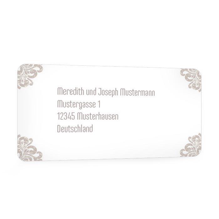 Adressaufkleber für Briefe mit barockem Ornament in Taupe