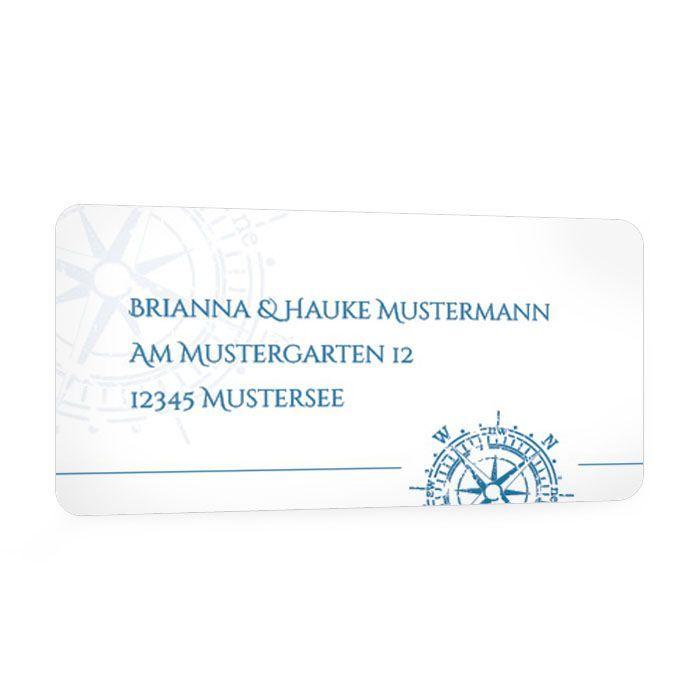 Absenderaufkleber zur Hochzeit im maritimen Design in Blau