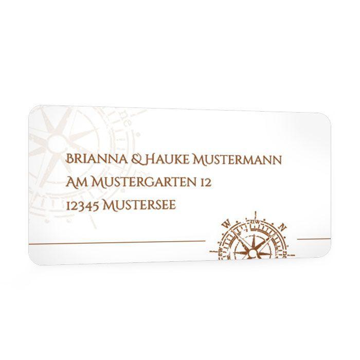 Absenderaufkleber zur Hochzeit im maritimen Design in Braun