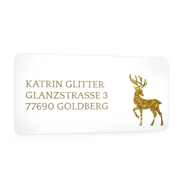 Weihnachtlicher Adressaufkleber im Rentier Design in Gold