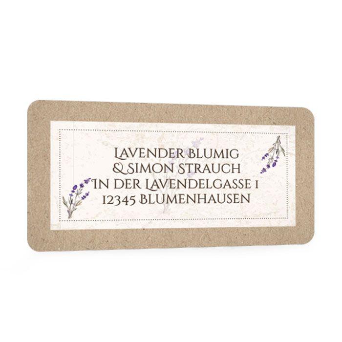 Adressaufkleber zur Einladung mit Lavendel in Kraftpapieroptik