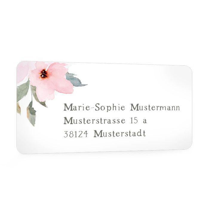 Adressaufkleber mit pastellfarbenen Blüten für die Hochzeitspost