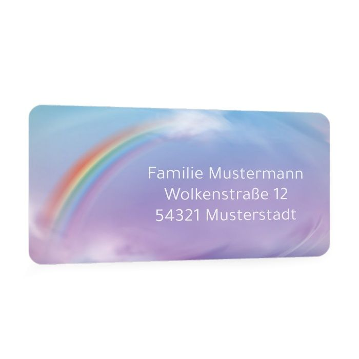 Adressaufkleber für Regenbogenkinder mit Regenbogenmotiv