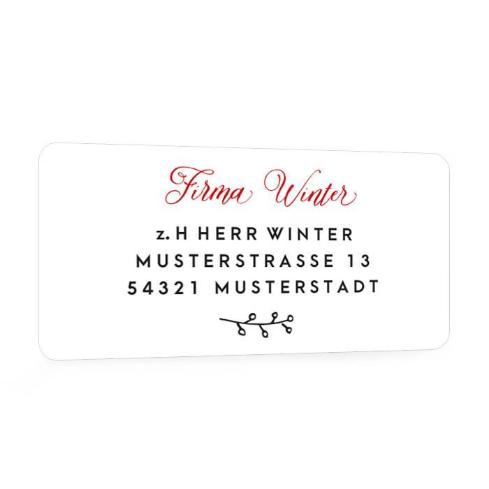 Adressaufkleber zu Weihnachten mit Kalligraphieschrift
