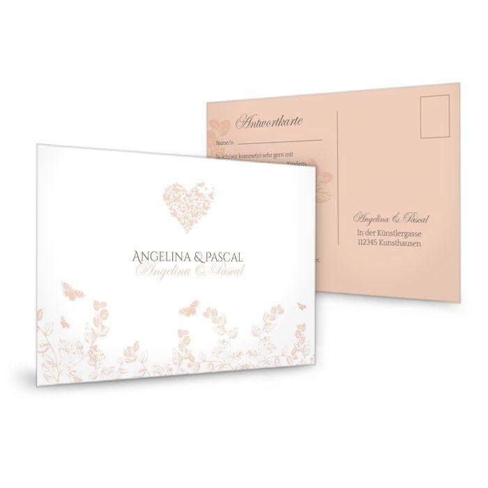 Antwortkarte zur Hochzeit in Apricot mit Schmetterlingen
