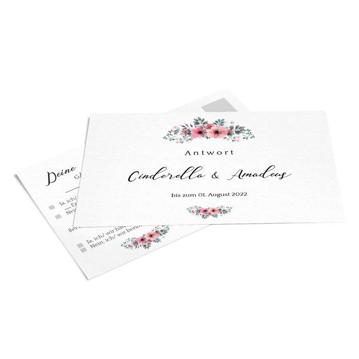 Antwortkarte zur Hochzeit mit  Aquarellblumen in Rosa - online selbst gestalten