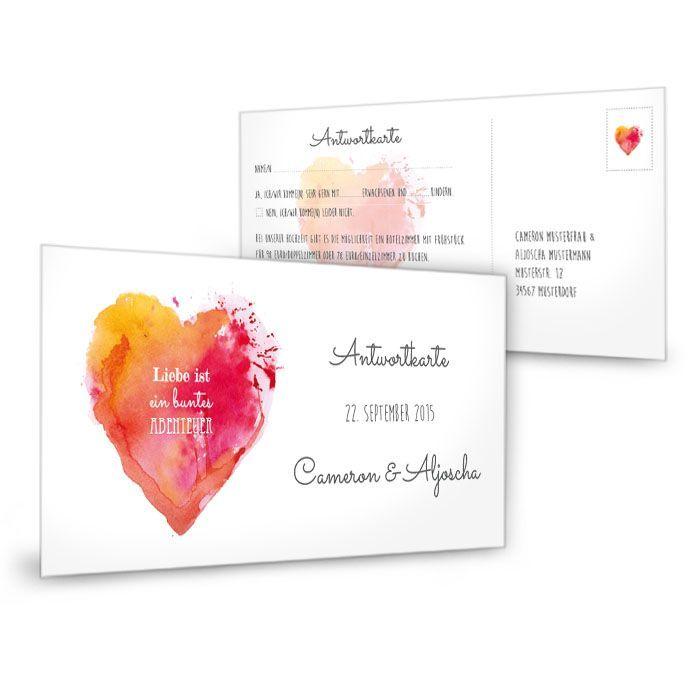 Antwortkarte zur Hochzeit mit Watercolor Herz in Rot