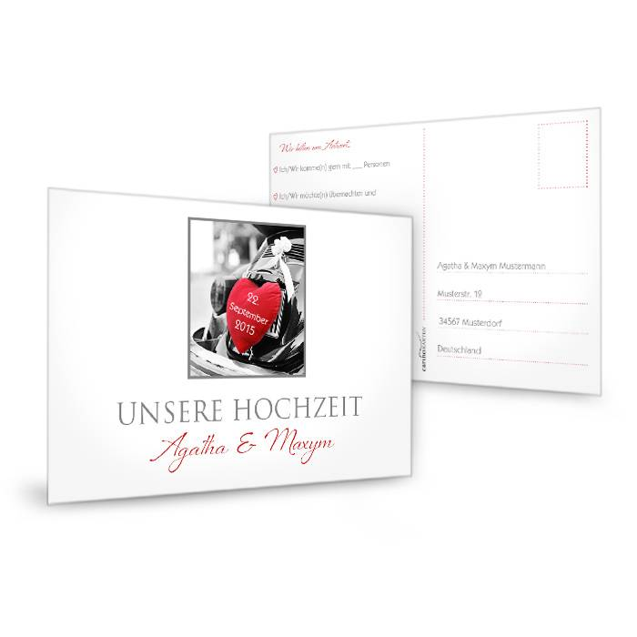 Antwortkarte zur Hochzeit in schlichtem Weiß mit großem Foto