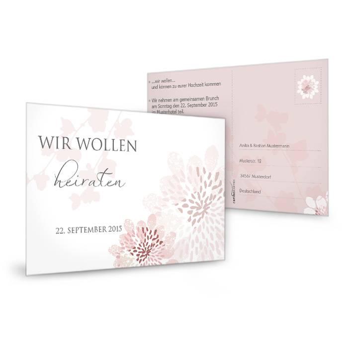 Antwortkartezur Hochzeit mit floralem Muster in Altrosa