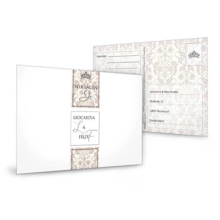 Antwortkarte zur Hochzeit mit barocken Ornamenten in Braun