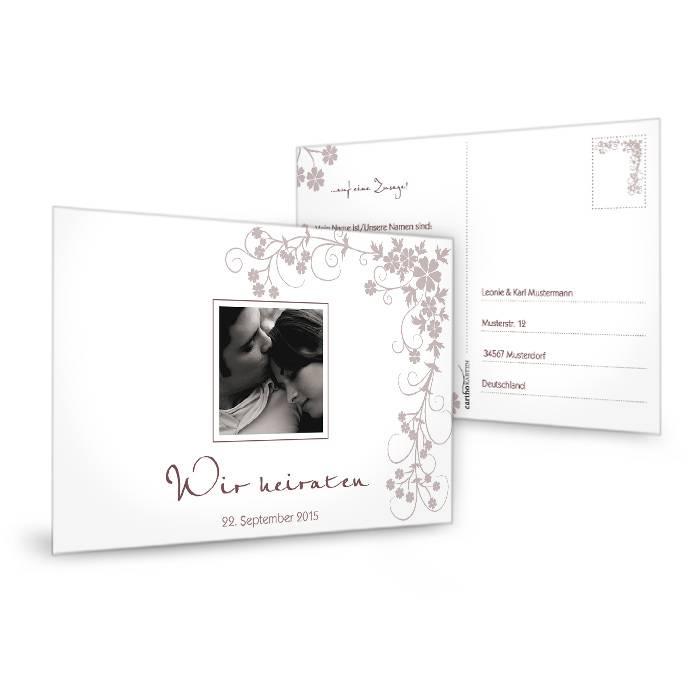 Antwortkarte zur floralen Hochzeitseinladung in Weiß und Rosa